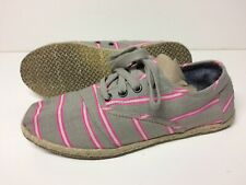 Women's Toms Cordones Shoes Sz 7.5 Gray Pink Stripes Laced Casual Sneakers Flats
