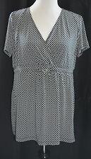 NWT Motherhood Maternity XL black white print short sleeve crossover front