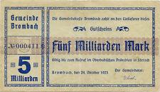 """Germany 5 Billions Mark 1923 Brombach â""""–000411*"""