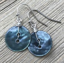 Min Favorit Upcycled Montana Blue Shell Button & Silver Artisan Drop Earrings