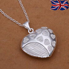 "925 Sterling Silver Heart Necklace Pendant Chain Link 18"" Gift Love UK"