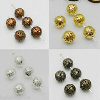Metal Charms Hollow Flower Ball Loose Spacer Beads Jewelry Making DIY 4/8/10mm
