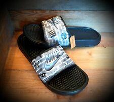 Nike Benassi Sliders/Custom Painted/Slides/Flip Flops/Beach Sandals/Max/Grey