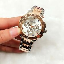 PANDORAS Fashion Lady Steel Quartz Wacthes Wristwatch diamond silver+rose-gold