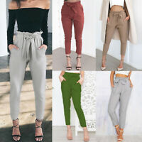 Women High Waist Drawstring Elastic Long Pants Casual Pencil Trousers With Belt