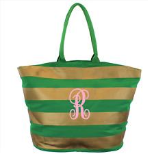Canvas Tote Bag With Gold Stripe Design