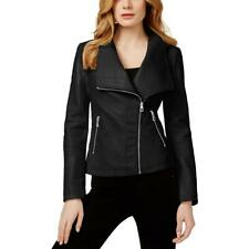 Guess Womens Black Faux Leather Zipper Motorcycle Jacket Coat XS BHFO 1871