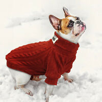 Dog Knit Sweater Warm Knitted Clothes French Bulldog Knitwear Jumper Red Yorkie