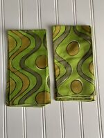Vintage Vera Neumann PAIR Cloth Napkins Avocado Green MOD Groovy 15 1/2""
