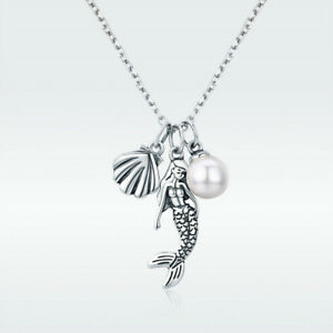 Mermaid & Shell 925 Sterling Silver Charm Necklace With Pearl Chain Girl Jewelry