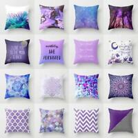 18'' Cotton Linen Purple Pillow Case Sofa Waist Throw Cushion Cover Home Decor-