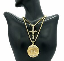 """MEN ICED OUT CROSS & LAST SUPPER PENDANT 24"""" & 30"""" BOX CHAIN COMBO NECKLACE C01"""