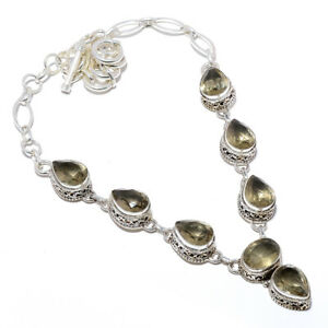 """Smokey Quartz Vintage Style Solid 925 Sterling Silver Necklace 17.99"""" W3123"""