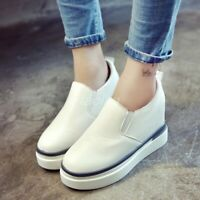 Chic Women's PU Leather Casual Wedge Heel Loafers Platform Slip On Sneaker Shoes