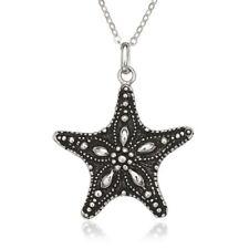 Sterling Silver Fancy Oxidized Starfish Pendant
