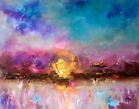 Abstract Landscape Sunrise signed original oil painting on canvas