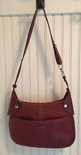Tod's Purse Handbag Burgundy/Wine Adjustable Strap Exterior & Interior Pockets