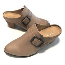 Vionic Upright Cheyenne Taupe Leather Buckle Slip On Block Heel Mules Size11