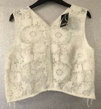 Oasis White Lace Crochet Cropped Top Size 12 BNWT