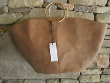 WHO WHAT WEAR NWT GOLD RING HANDBAG TOTE BUCKSKIN FAUX LEATHER SUEDE 20X10X6