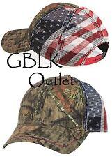 American Flag Trucker Baseball Hat - Outdoor Cap Mesh Back Camo Cap CWF400M