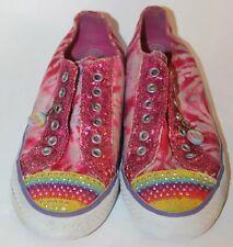 Sketchers Girl Kid Shoes Glitters Slip On Peace Canvas Sz 3 Tie Dye