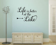 LIFE IS BETTER AT THE LAKE Vinyl Wall Decal Quote House Decor Lettering Sign