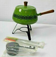 Vintage Fondue Set Mid Century 1970 Green 2 Quart Aluminum Japan Forks Burner