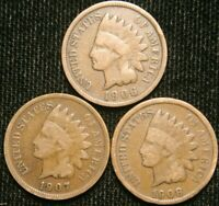 1906 1907 1908 1c Indian Head Cent Penny Set Lot , All 3 Coins , Circulated