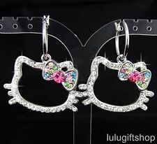 HELLOKITTY CAT DANGLE EARRINGS USE SWAROVSKI CRYSTALS WHITE GOLD PLATED LOVELY