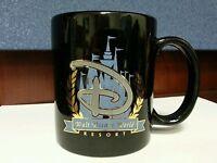 Walt Disney World Resort Black Coffee Mug Cup Blue Castle Gold Trim 12 Ounces