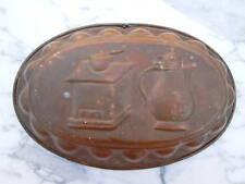 Moule à gâteau cuivre étamé décor moulin a café cafetiere