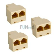 New 3X Ethernet Splitter Rj45 Adaptor Pc Connector Network LAN Pc Plug Cat5 6