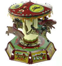 Clockwork Merry Go Round Carousel Classic Tin Toy Nice Decoration Piece