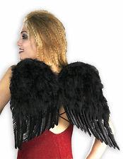 FANCY DRESS ACCESSORIES ~ DLX BLACK FEATHER ANGEL WINGS