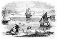 BOSTON HARBOR BACK CHANNEL, SAILBOATS, CLIPPER SHIPS, HISTORY ANTIQUE ENGRAVING