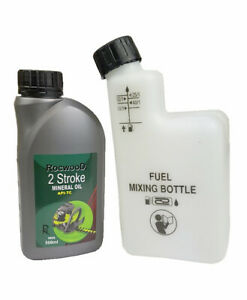 2 Stroke Oil 500ML & Fuel Petrol Mixing Bottle Ideal For Stihl Strimmer