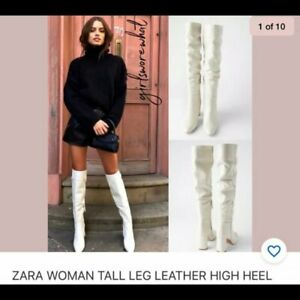 ZARA Ecru Off White Tall leather knee high Boots slouch bloggers rare US6.5 37
