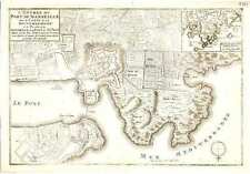 Carte antique, L'ENTREE DU Marseille... la Citadelle et du fort de St. Jean.