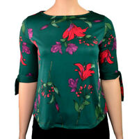 EX.DEBENHAMS GREEN FLORAL LILY PRINT BLOUSE TOP TIE SLEEVE Sizes 14