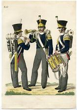 Antique Print-MILITARY-UNIFORM-PL.18-MUSICIANS-HORN-FLUTE-Teupken-Sluyter-1823