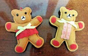 Vintage Felt Teddy Bear Boy & Girl Gingerbread Man Couple Christmas Ornament