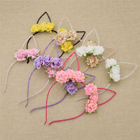 Lovely Rose Flowers Kitty Cat Ear Headband Party Costume Accessories Women Girls