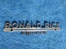 Vintage Original Metal Dealer Name Plate Ronald Rice Abilene Kansas