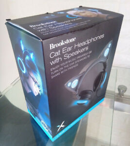 Cat Ear Headphones Axent Wear/ Brookstone - Wired, Blue