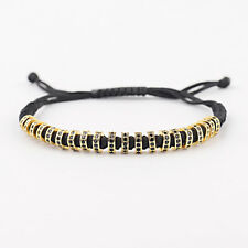 Luxury 24kt Plated Gold Micro Pave Zircon Gasket Bracelets Men Women Bracelets