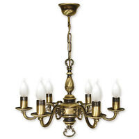 CHANDELIER 6 ARMS TRADITIONAL CEILING LIGHT - ANTIQUE BRASS FINISH - CANDLE