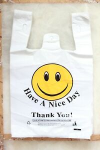 900 T-Shirt White Thank You Plastic Bag Retail Grocery Store Shopping Carry Out