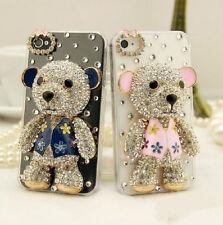 Bear Design Rhinestone Bling Diamond Crystal Clear Back Case Cover For Phones