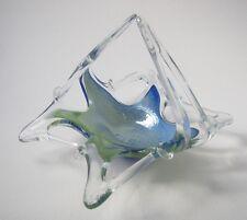 Murano Art Glass Italian Lavorazione Bowl Basket Handblown Blue Green